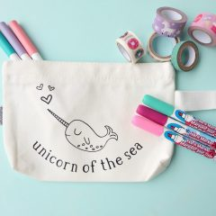 DIY Narwhal Zippered Pouch That Kids Can Color Themselves