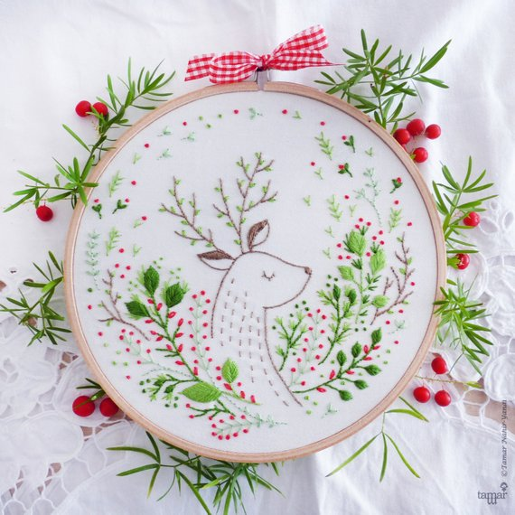 Shop Handmade Holiday Gift Guide: Deer Embroidery Kit from Tamar Nahir Yanai