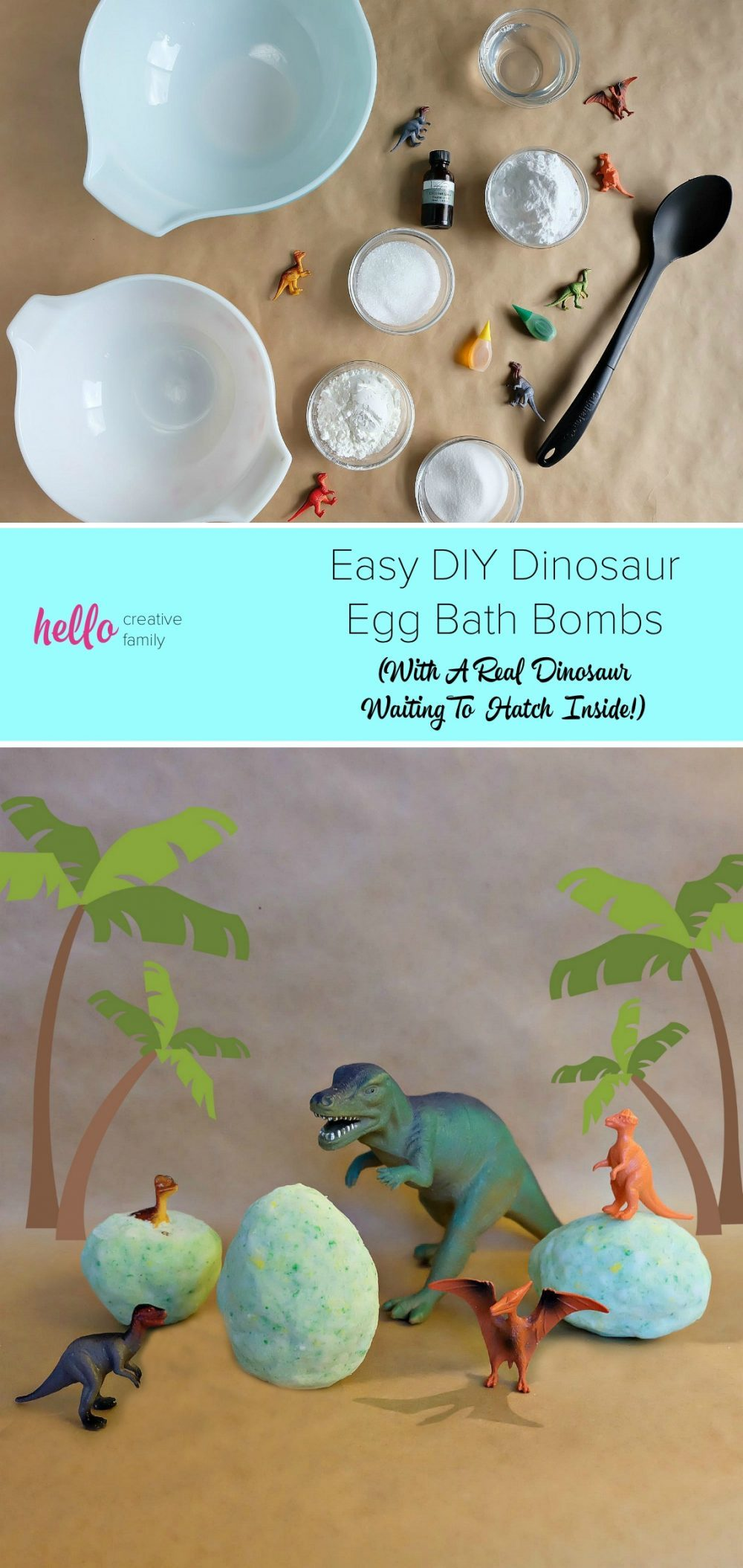 Bath bombs are easy to make at home, if you know how! Learn how to make these DIY Dinosaur Egg Bath Bombs. They have little toy dinosaurs hidden inside and make a great gift idea for dinosaur loving boys and girls! Give them as a handmade stocking stuffer and make bath time fun! #StockingStuffer #Handmade #DIY #Dinosaur #Boygiftidea