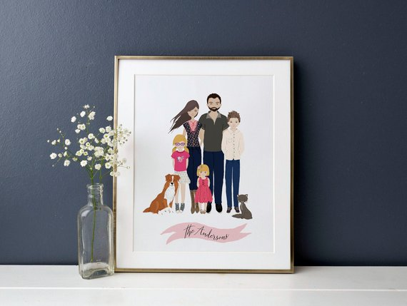 Shop Handmade Holiday Gift Guide:Family Portrait from Cate Paper Co