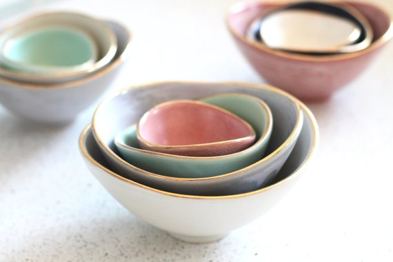 Shop Handmade Holiday Gift Guide: Gold Rimmed Nesting Bowls from Fringe and Fettle