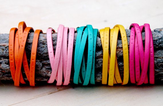 Shop Handmade Holiday Gift Guide: Handstamped Leather Bracelets from Luise Keller