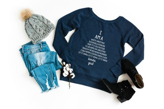 Shop Handmade Holiday Gift Guide: I Am A Classic Christmas Songs Kinda Girl Wide Neck Sweatshirt from Hello Creative Family