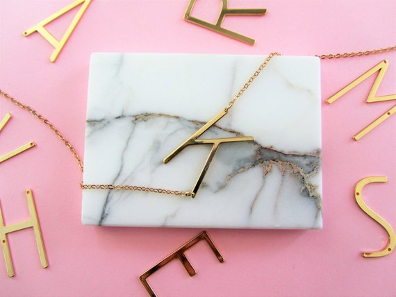 Shop Handmade Holiday Gift Guide: Initial Necklace from Madison Honey Vintage