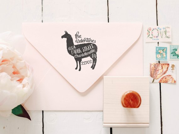 Shop Handmade Holiday Gift Guide:Llama Return Address Stamp from Paper Peach Shop