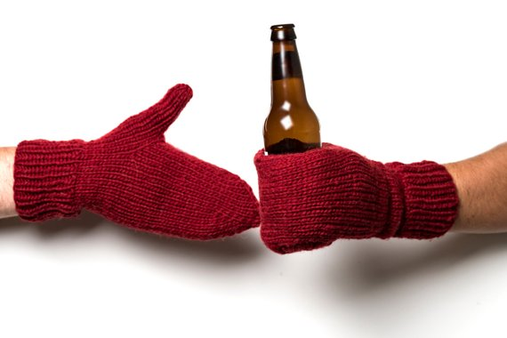 Shop Handmade Holiday Gift Guide: Mittens with Built In Beer Holder from Camp Kitschy Knits