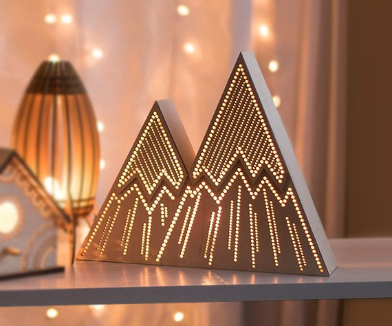 Shop Handmade Holiday Gift Guide: Mountain Night Light from Lighting By Sara