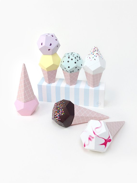 Shop Handmade Holiday Gift Guide:Paper Ice Cream Party Kit from Moon Picnic Shop