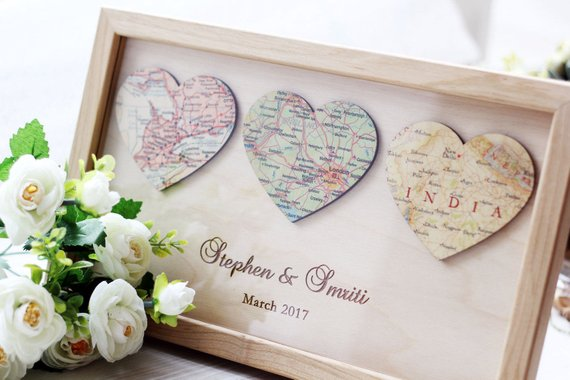 Shop Handmade Holiday Gift Guide: Personalized Map Heart Art from Wooden Engraved Shop