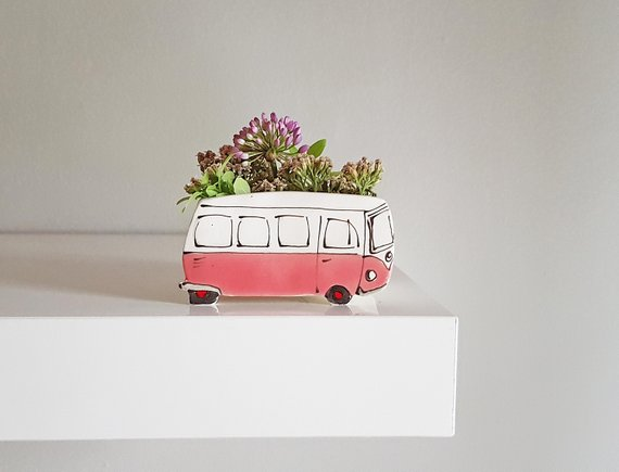 Shop Handmade Holiday Gift Guide:Pink Westfalia Succulent Planter from Julie Richard Ceramist