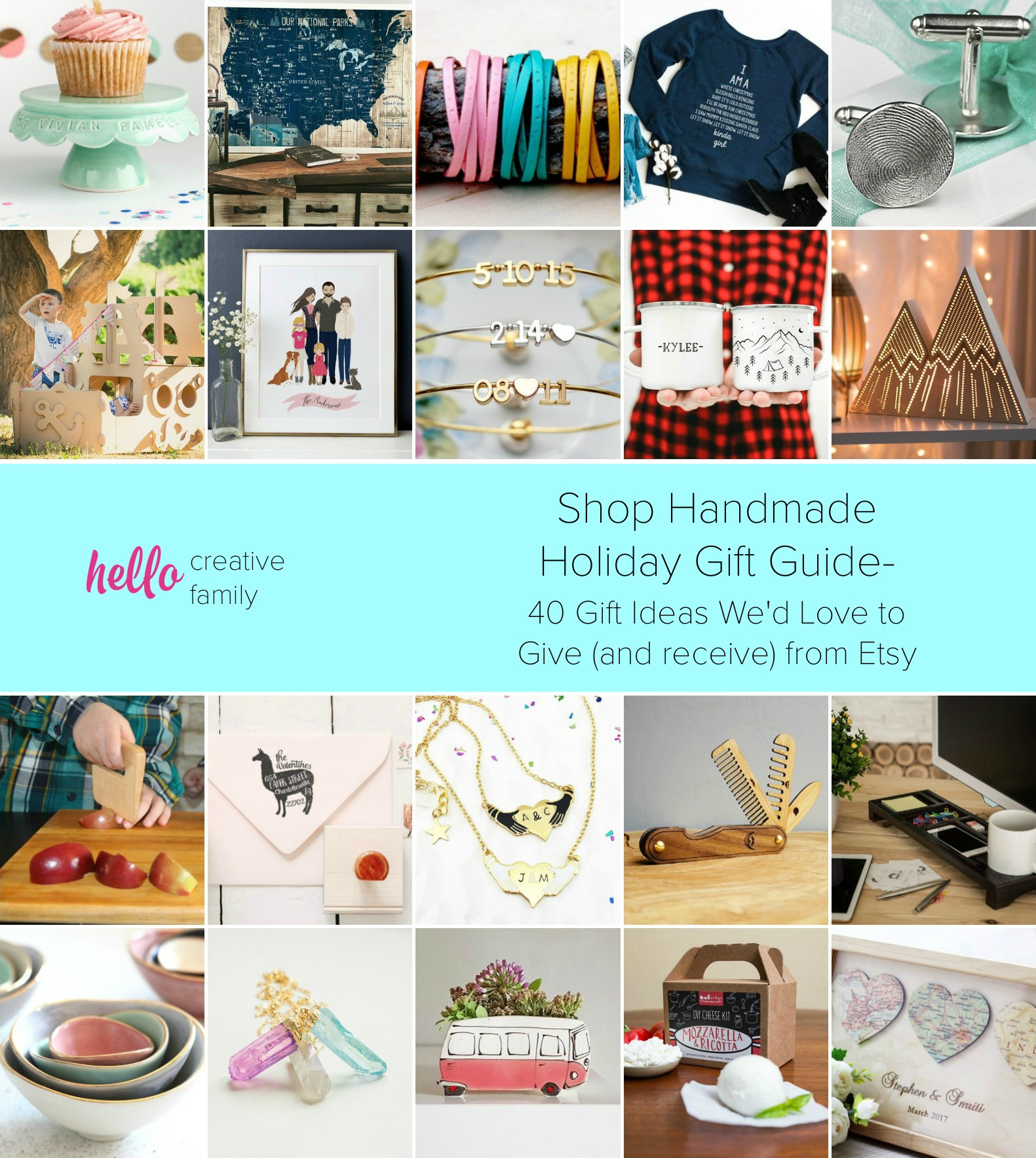 Shop Handmade Holiday Gift Guide- 40 Gift Ideas We'd Love to Give (and receive) from Etsy- Handmade gift ideas for men, women, kids and just about everyone on your shopping list!