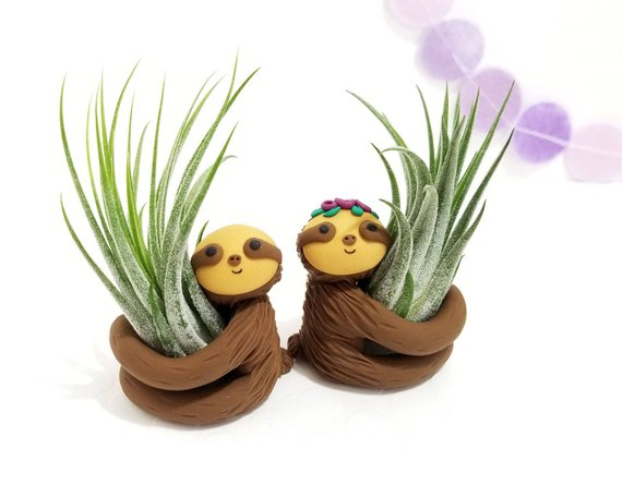Shop Handmade Holiday Gift Guide: Sloth Air Plant Holder from FunUsual Suspects