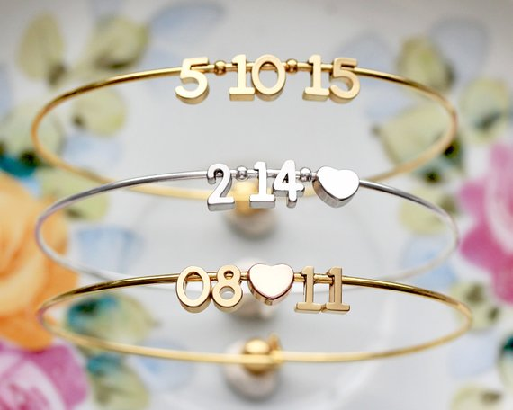Shop Handmade Holiday Gift Guide: Special Date Bangle Bracelet from Tom Design