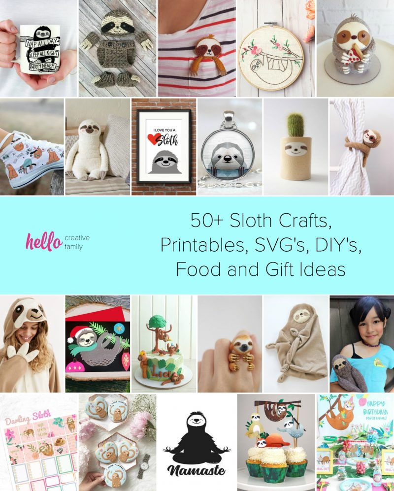 Know someone who loves sloths? We're sharing over 50 of our favorite sloth crafts, printables, svg's, DIY's, food and gift ideas! Perfect for sloth themed birthday parties, or handmade gift ideas for your sloth crazy friends and family! #Sloth #crafts #giftideas #crochet