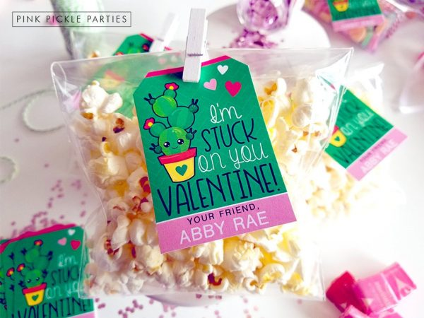 50+ Printable Valentines Day Cards: Adorable Kawaii Cactus Printable Valentine from Pink Pickle Parties