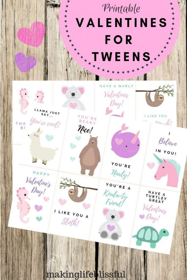 50+ Printable Valentines Day Cards: Animal Puns Printable Valentine's Day Cards from Making Life Blissful