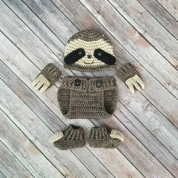 Baby Sloth Crochet Pattern (or finished outfit) from Baby Baum Boutique