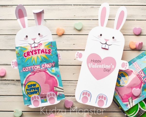 50+ Printable Valentines Day Cards: Bunny Wrapping Arms Candy Holder Printable Valentine from Kudzu Monster