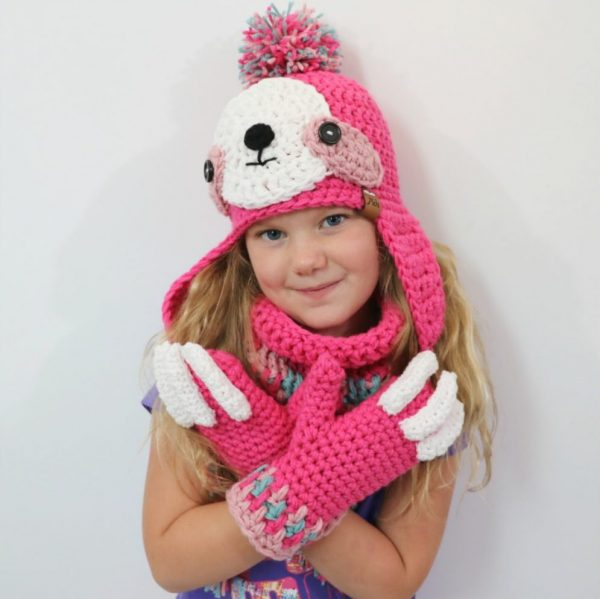 Sloth Crafts, Printables, SVG's DIY's, Food and Gift Ideas: Crocheted Sloth Hat, Cowl and Mittens from MJ's Off The Hook Designs