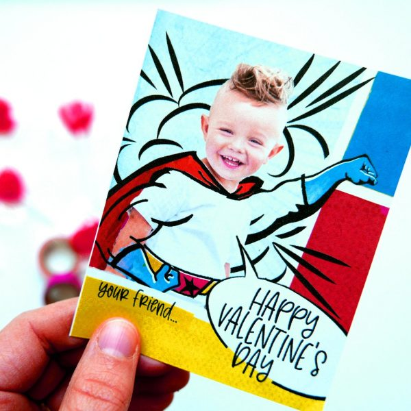 50+ Printable Valentines Day Cards: Custom Photo Superhero Printable Valentine from Pretty Paper Violet.