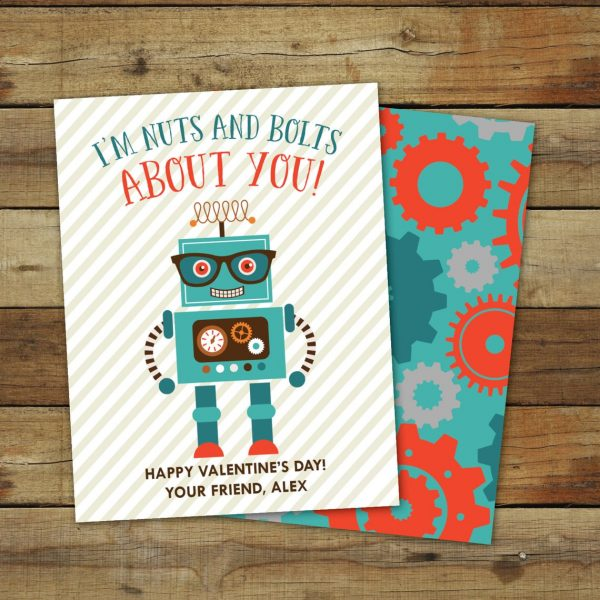 50+ Printable Valentines Day Cards: Cute Robot Printable Valentine from Sara Luke Creative