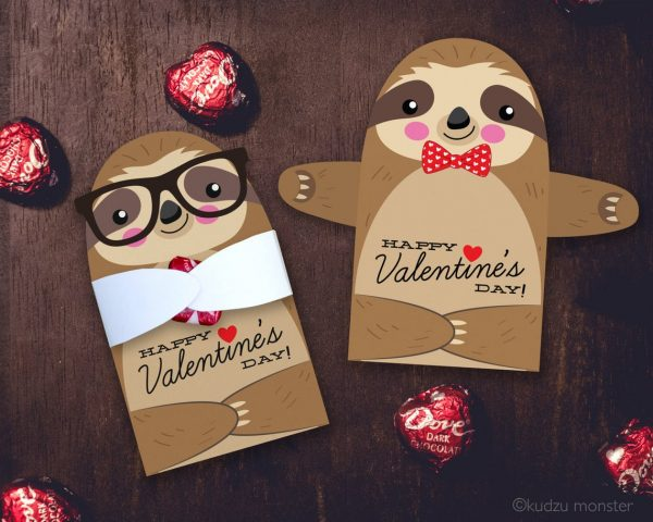 50+ Printable Valentines Day Cards:Cute Sloth Candy Holder Printable Valentine from Kudzu Monster