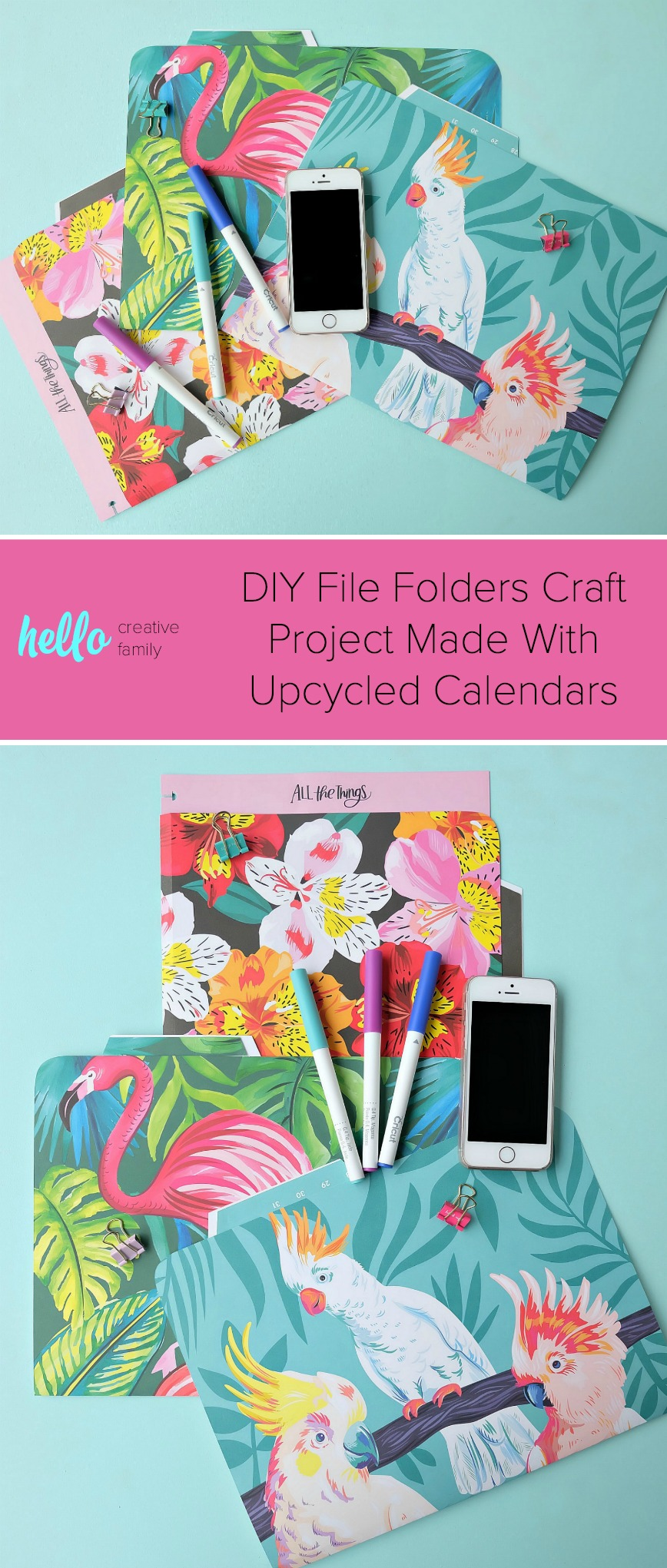 Get your paper craft on with this quick & easy project! Learn how to upcycle an old calendar into awesome DIY File Folders using a Cricut or scissors! You'll have the fanciest custom office supplies in town! #Cricut #papercrafts #Crafts #DIY