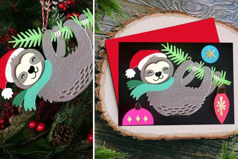 Sloth Crafts, Printables, SVG's DIY's, Food and Gift Ideas: DIY Rob & Bob - Santa Sloth Ornament Card Cricut Cut File
