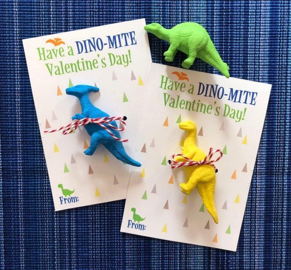 50+ Printable Valentines Day Cards:  Dinosaur Toy Printable Valentine from Smart Fox Paper Studio.