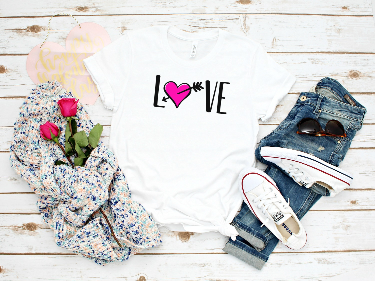 Create a cute custom shirt for Valentines Day, Honeymoon or Bachelorette using your Cricut or Silhouette cutting machine and Hello Creative Familys free Love SVG File! A fun and easy craft project! #SVG #Cricut #Silhouette #Crafts