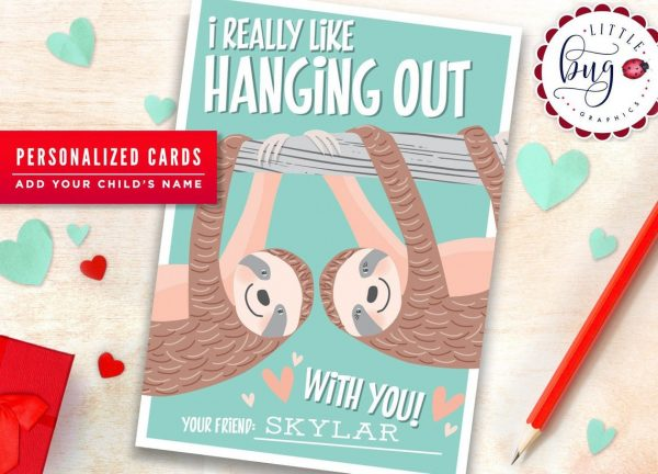 50+ Printable Valentines Day Cards: I Really Like Hanging Out With You Printable Sloth Valentine from Little Bug Graphic