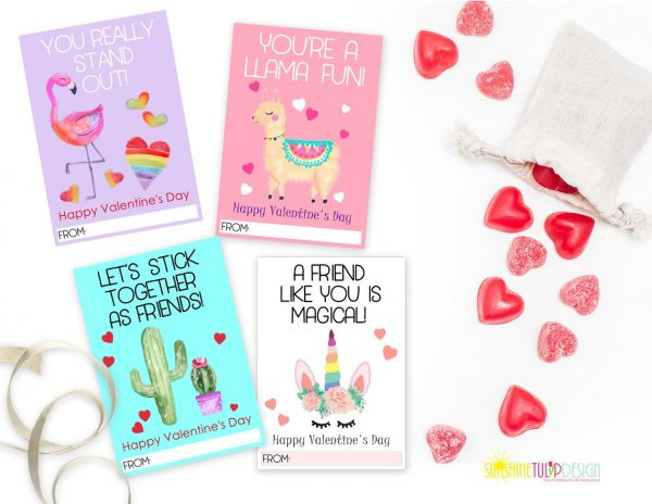 50+ Printable Valentines Day Cards: Llama, Cactus, Unicorn and Flamingo Puns Printable Valentine's Day Cards from Sunshine Tulip Design
