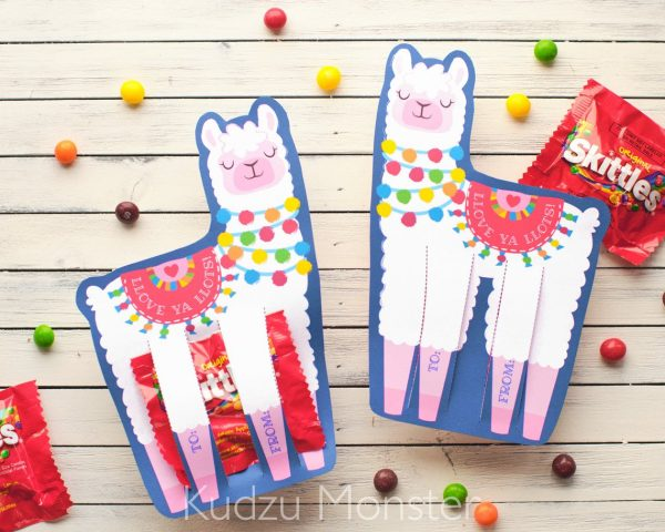 50+ Printable Valentines Day Cards: Llama Candy Holder Printable Valentine from Kudzu Monster