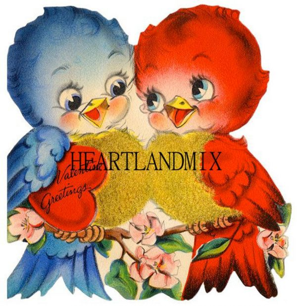 50+ Printable Valentines Day Cards: Love Birds Vintage Valentine Card Printable from Heartland Mix