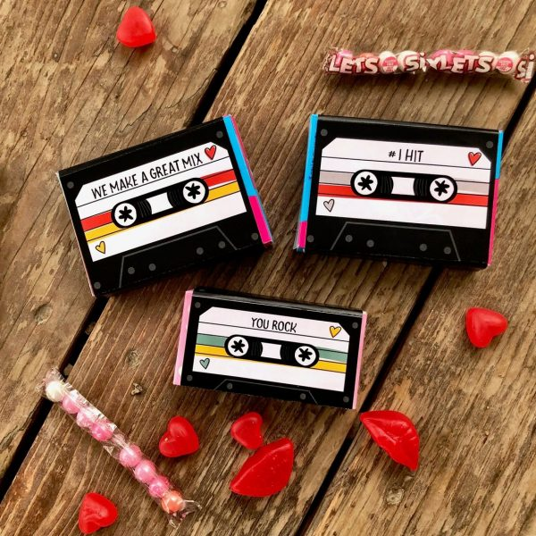50+ Printable Valentines Day Cards: Mix Tape Candy Wrapper Valentine Printable from Chipper Studios
