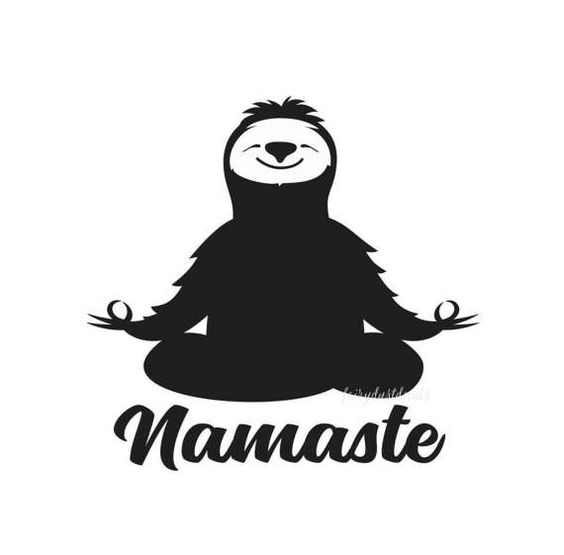 50+ Sloth Crafts, Printables, SVG's, DIY's, Food and Gift Ideas: Namaste Sloth Decal from Fairy Dust Decals