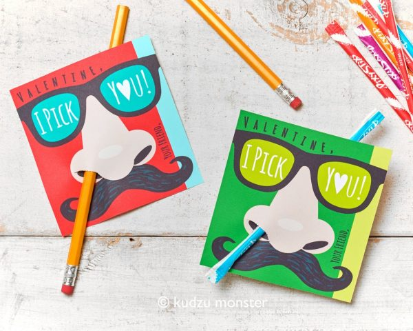 50+ Printable Valentines Day Cards: Nose Picking Mustache Printable Valentines Cards from Kudzu Monster