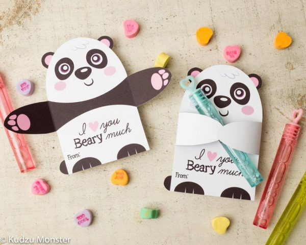 50+ Printable Valentines Day Cards: Panda Wrapping Arms Gift Holder Printable Valentine Card from Kudzu Monster.