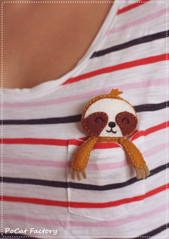 Sloth Crafts, Printables, SVG's DIY's, Food and Gift Ideas: Pocket Sloth from Po Cat Factory