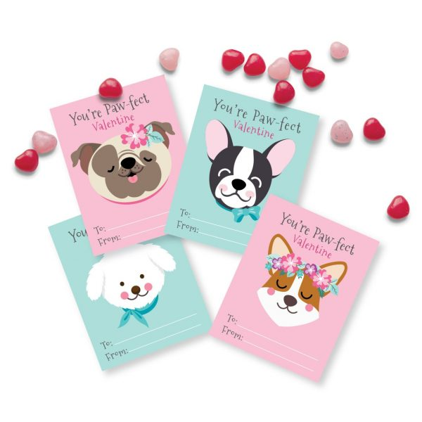 50+ Printable Valentines Day Cards: Pretty Floral Puppies Printable Valentines from Crazy Fox Paper