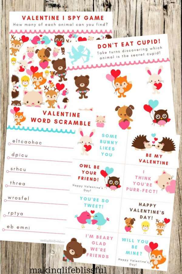 50+ Printable Valentines Day Cards: Printable Cute Animals Valentine's Day Games from Making Life Blissful