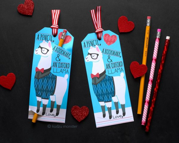50+ Printable Valentines Day Cards: Printable Llama Pencil Holder Bookmark Valentine from Kudzu Monster