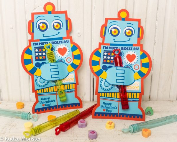 50+ Printable Valentines Day Cards: Printable Robot Bubble Holder Valentine from Kudzu Monster
