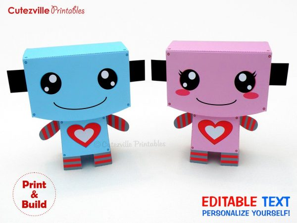 50+ Printable Valentines Day Cards: Printable Valentine's Day Candy Robot Boxes from Cutezville Printables