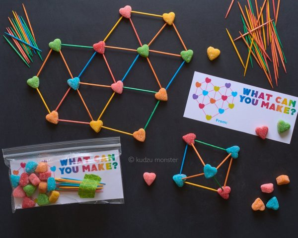 50+ Printable Valentines Day Cards: STEM Valentine's Day Activity Printable from Kudzu Monster