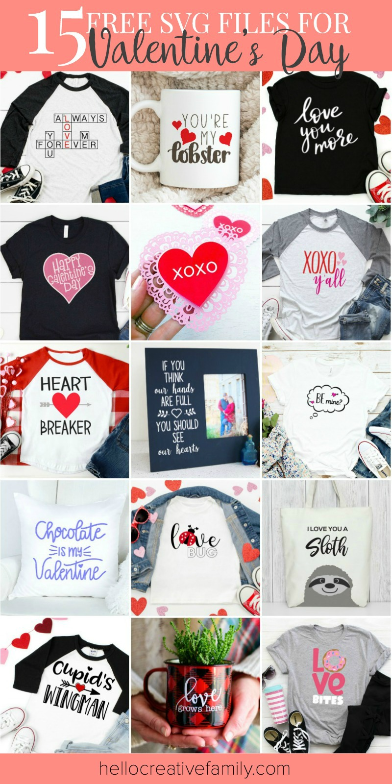 "How adorable are these projects?!?!? Pull out your Cricut or SIlhouette and start whipping up Valentine's Day handmade gifts and crafts! We are sharing 15 free Valentine's Day SVG Files including our own ""Be Mine"" cut file! Make an easy handmade gift or decorate for the holiday of love with a fun cutting machine project! #Valentine #ValentinesDay #Cricut #Silhouette #CricutProject #FreeSVG"