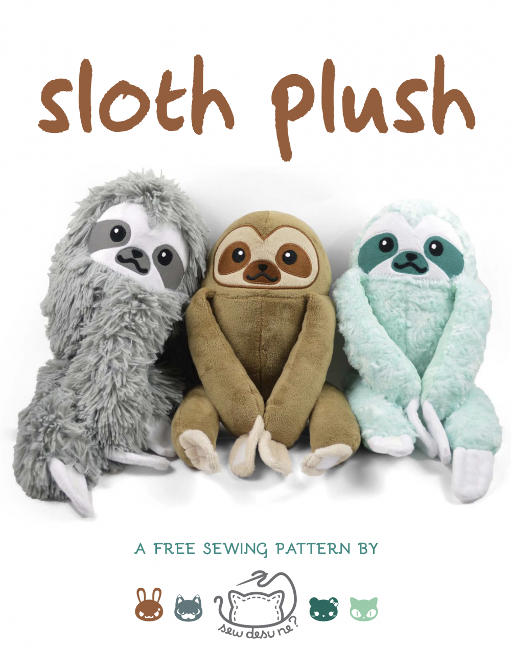 Sloth Crafts, Printables, SVG's DIY's, Food and Gift Ideas: Free Sloth Plush Pattern from Sew Desu Ne?