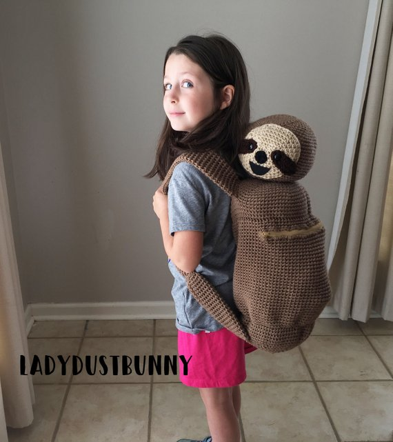 Sloth Crafts, Printables, SVG's DIY's, Food and Gift Ideas: Sloth Backpack Crochet Pattern from Lady Dust Bunny
