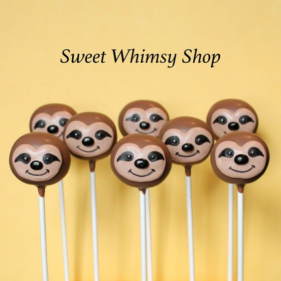Sloth Crafts, Printables, SVG's DIY's, Food and Gift Ideas: Sloth Cake Pops from Sweet Whimsy Shop