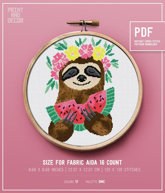 Sloth Crafts, Printables, SVG's DIY's, Food and Gift Ideas: Sloth Eating Watermelon Cross Stitch Pattern from PRINT and DECOR
